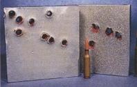 Пораженные бронеплиты патроном 5,45 мм с пулей повышенной пробиваемости 7H10