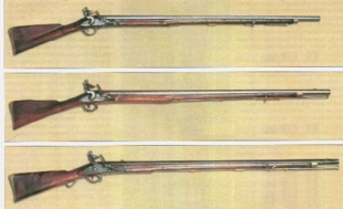 1 - Brown Bess Short land Musket, 2 - Мушкет образца Ост-Индийской компании (India pattern musket), 3 - новый сухопутный образец 1794 г (New land pattern)