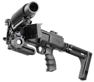 Модуль вооружается либо обычным пистолетом, либо 40-мм гранатометом