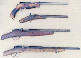 Вот они, пресловутые обрезы (сверху вниз ): сей уродец, пожалуй, мало чем напоминает некогда элегантную спортивную винтовку ТОЗ-18