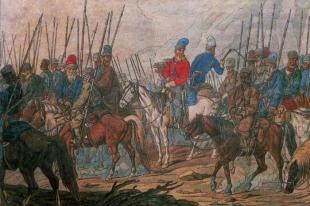 Акварель, изображающая казаков Суворова в 1799 году