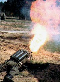 Огнеметание из легкого пехотного огнемета ЛПО-50