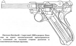 Пистолет Borchardt - I.uger mod. 1900 в разрезе. Пока еще он имеет автоматический предохранитель с клавишей на тыльной стороне рукоятки и пластинчатую боевую пружину.