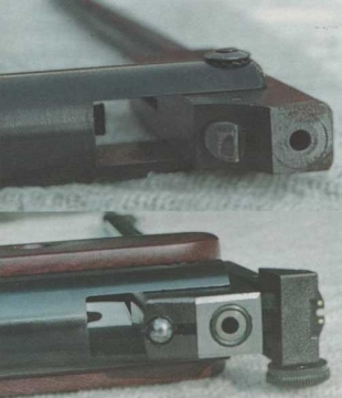 Механизм запирания ствола МР-512. Механизм запирания ствола «Норики». Хорошо виден шарик, профильный зуб и паз, в который входит зуб.