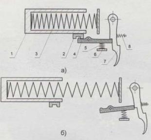 Взаимное расположение частей спускового механизма МР-512: а) перед выстрелом, б) после выстрела. 1- поршень; 2- боевой взвод поршня; 3- боевая пружина; 4- шептало; 5- пружина шептало; 6- опорная площадка пружины шептала - отгиб; рычага блокировки (рычаг не показан); 7- спусковой крючок; 8- возвратная пружина спускового крючка.