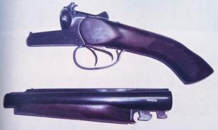Для переноски пистолет разбирается на две части
