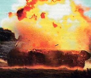 Действие по цели боевой части гранаты гранатомета NLAW.
