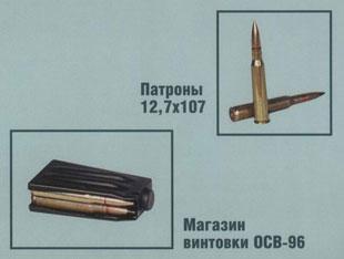 Патроны 12,7x107; магазин винтовки ОСВ-96