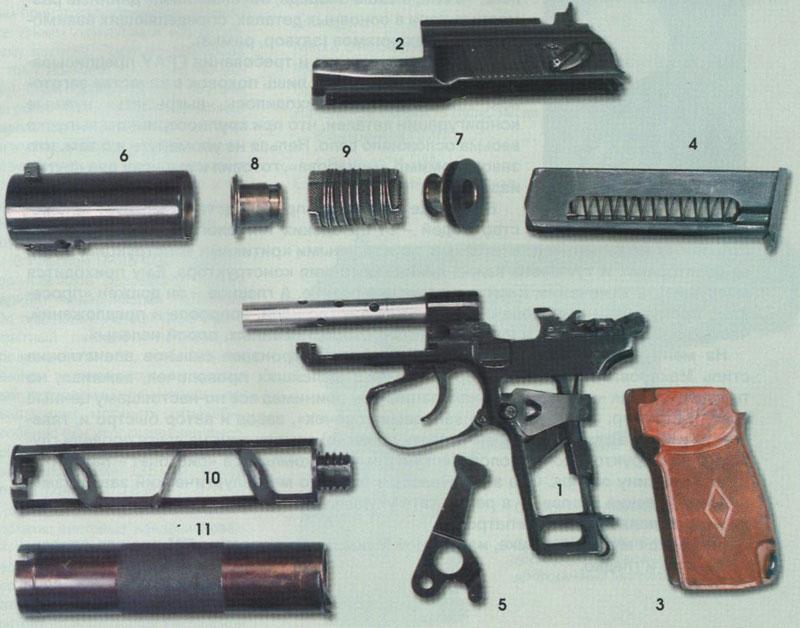 Неполная разборка пистолета ПБ