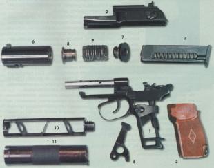 Неполная разборка пистолета ПБ, на снимке цифрами обозначены:  1 - рамка;  2 - затвор;  3 - накладка рукоятки  с встроенной возвратной пружиной;  4 - магазин;  5 - передаточный рычаг возвратной пружины;  6 - корпус расширительной камеры;  7 и 8- втулки се
