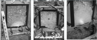 Силикатное стекло (фото слева) пробито пулей Б32 калибра 12,7 мм, причем пробита и металлическая рамка.  ALON этой же пулей не пробит ( в центре лицевая сторона, справа- тыльная сторона).