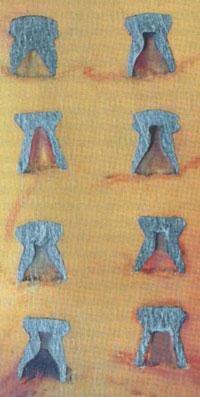 Продольные сечения пуль (сверху вниз): левый вертикальный ряд: ДИ, «Шмель», ДЦ (КШЗ), ДЦ (безымянные); правый вертикальный ряд: «Альфа», «Бета», «Гамо Матч», «Гамо Про Матч».