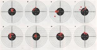 Результаты отстрела пуль на дистанции 10 м: а — ДИ; 6 - «Шмель»; в - ДЦ (КШЗ); г — ДЦ (безымянные); д — «Альфа»; е — «Бета»; ж — «Гамо Матч»; з — «Гамо Про Матч».