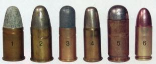револьверные патроны. 1 - .455 Rev Мк II с; 2 - .455 Rev MkVI z; 3 - .380 Rev Mk I; 4 - .380 RevMkll; 5 - .455 Auto; 6 - 9x19