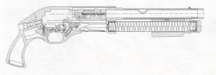 Схема травматического пистолета «Терминатор» калибра 12х35Т  с перезарядкой подвижным цевьем. Вместимость магазина 4 патрона
