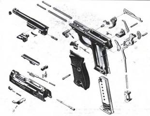 Сборочная схема пистолета Walther Р.38. Его конструкция более проста и технологична, чем у предшественника - Parabellum Р.08.