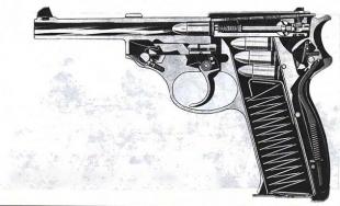 Walther P.38 в разрезе. Он уже не похож на модель РР, от которой пытались «оттолкнуться» его создатели.